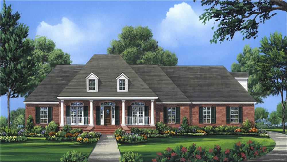 Front elevation of Country home (ThePlanCollection: House Plan #141-1286)