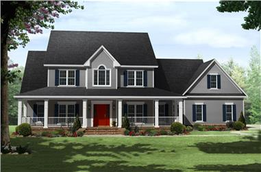 4-Bedroom, 3000 Sq Ft Country Home Plan - 141-1287 - Main Exterior