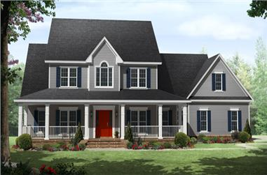 Front elevation of Country home (ThePlanCollection: House Plan #141-1287)