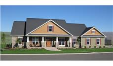 Front elevation photo of this Craftsman home (ThePlanCollection: House Plan #141-1290)