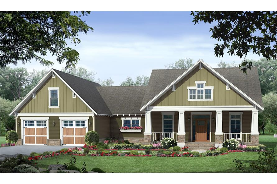 Front elevation of Craftsman home (ThePlanCollection: House Plan #141-1291)
