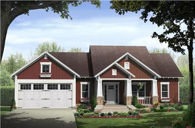 3-Bedroom, 1801 Sq Ft Craftsman Home Plan - 141-1292 - Main Exterior