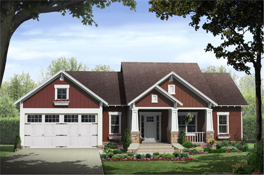 Front elevation of Craftsman home (ThePlanCollection: House Plan #141-1292)