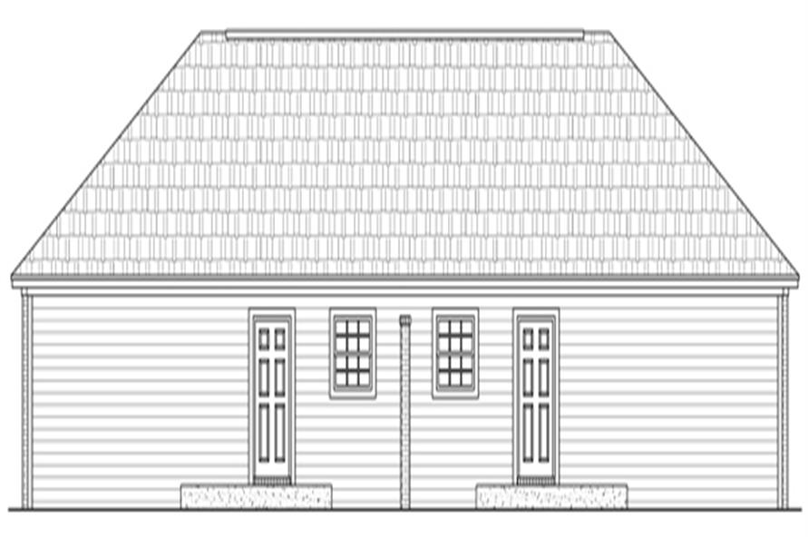 Home Plan Rear Elevation of this 2-Bedroom,1402 Sq Ft Plan -141-1295