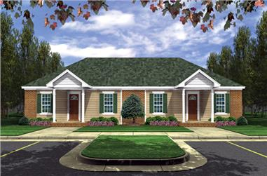 Front elevation of Southern home (ThePlanCollection: House Plan #141-1295)