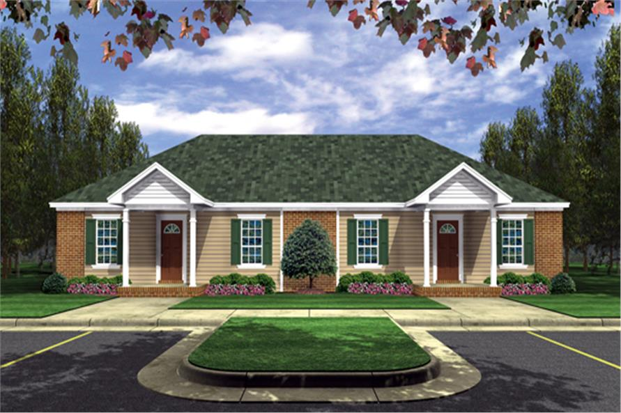 2-Bedroom, 1402 Sq Ft Southern House Plan - 141-1295 - Front Exterior