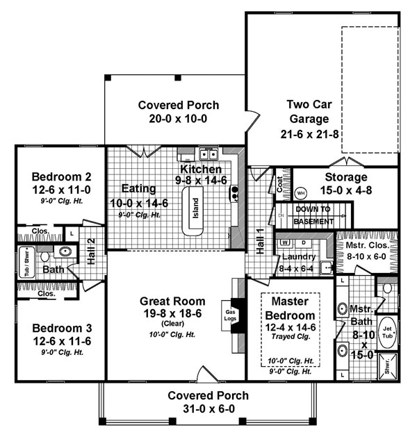 Floor Planning Tools In Asic: Country House Plan #141-1296: 3 Bedrm, 1657 Sq Ft Home