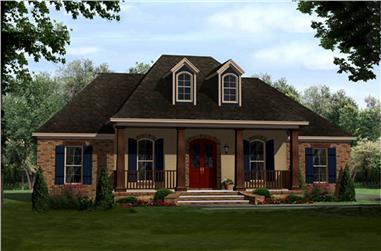 3-Bedroom, 1657 Sq Ft Country House Plan - 141-1296 - Front Exterior