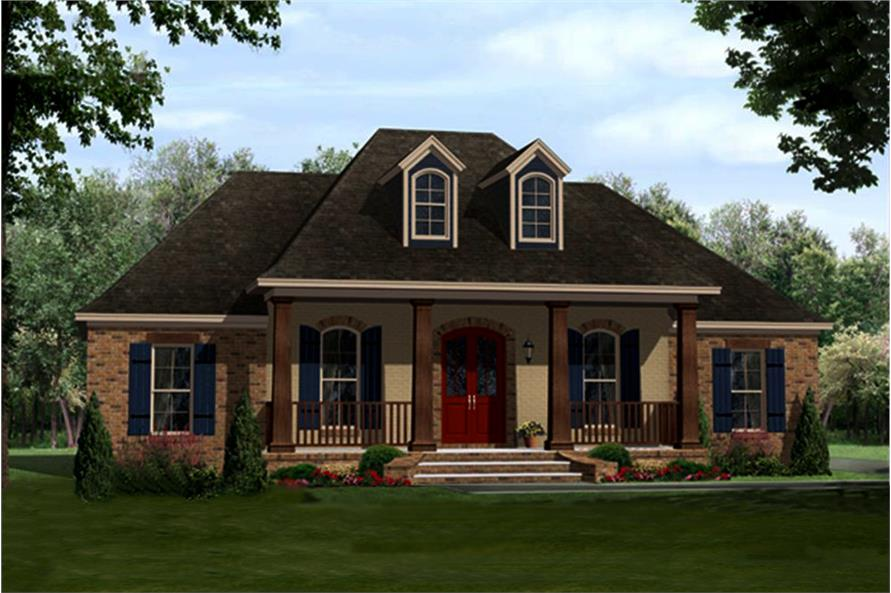 Color rendering of Country home plan (ThePlanCollection: House Plan #141-1296)