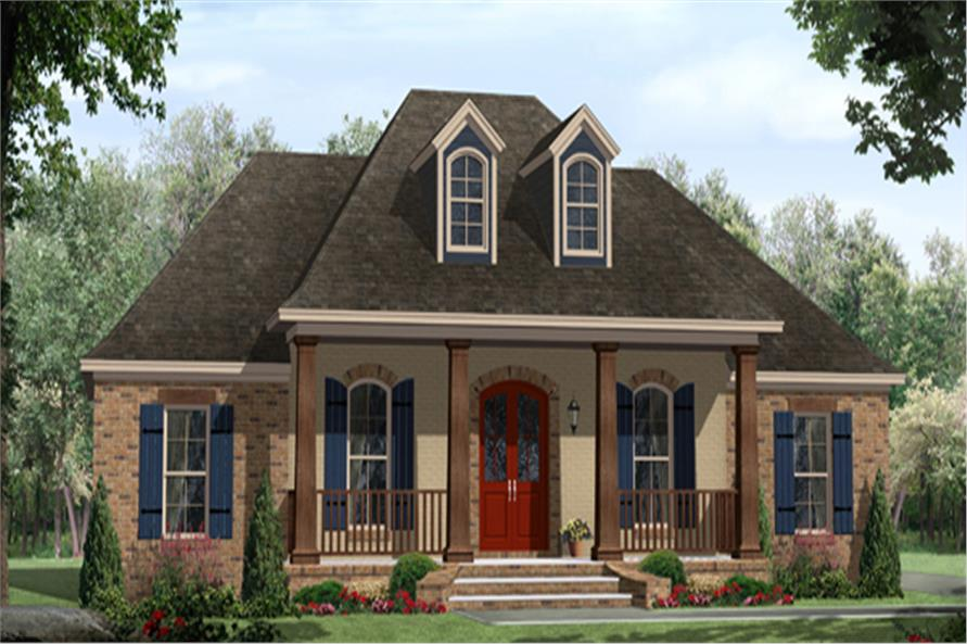 Front elevation of Country home (ThePlanCollection: House Plan #141-1296)
