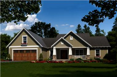Color rendering of Craftsman home plan (ThePlanCollection: House Plan #141-1298)