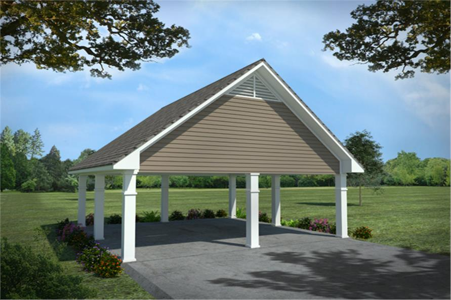 Front elevation of Carport (ThePlanCollection: House Plan #141-1299)