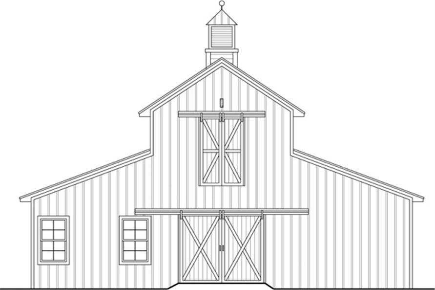 141-1300: Home Plan Rear Elevation