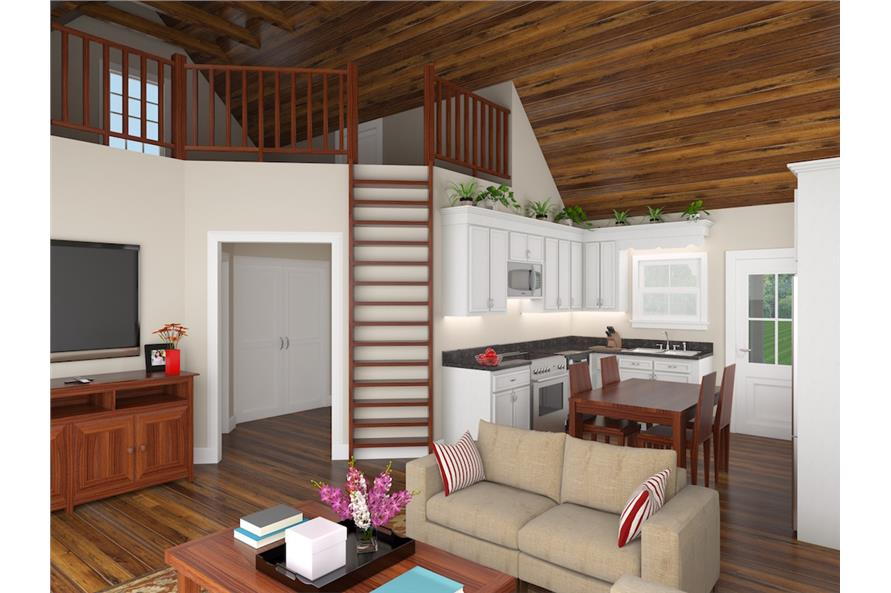141-1302: Home Plan 3D Image-Great Room