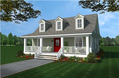 Color rendering of Cottage home (ThePlanCollection: House Plan #141-1302)
