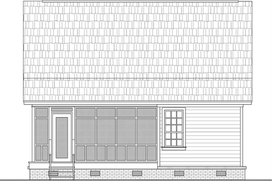 Home Plan Rear Elevation of this 2-Bedroom,1016 Sq Ft Plan -141-1303