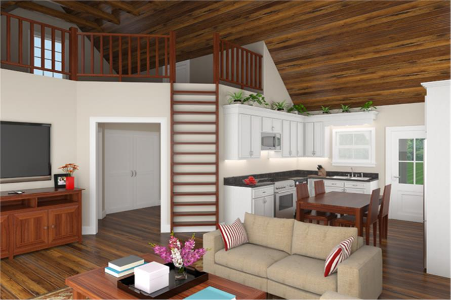 141-1303: Home Plan 3D Image-Great Room