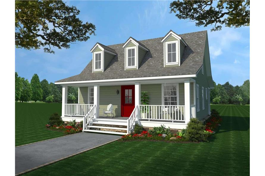 2-Bedroom, 1016 Sq Ft Country Home Plan - 141-1303 - Main Exterior