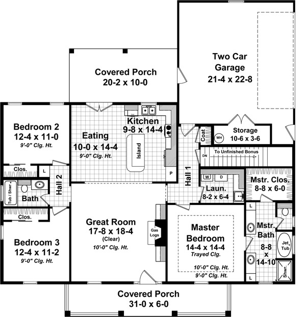Plan1411304Image_28_7_2016_1050_48 Ranch House Open Floor Plans Bedrooms on 3-bedroom single story house plan, large kitchen islands with open floor plans, for a ranch style home addition floor plans, 3-bedroom split ranch house plans,