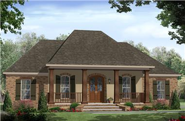 Color rendering of Southern home plan (ThePlanCollection: House Plan #141-1305)