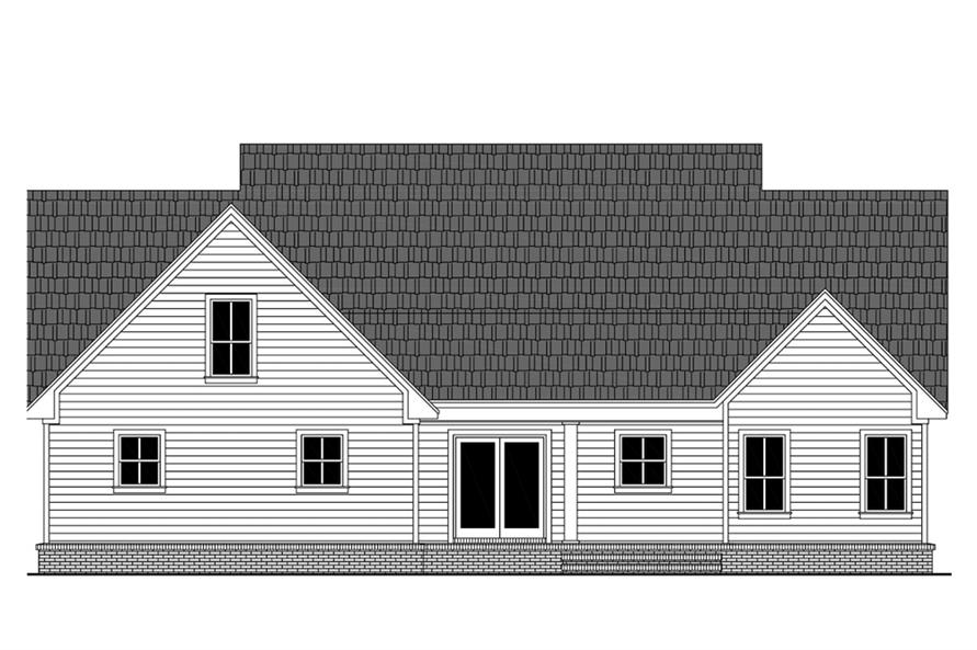 Home Plan Rear Elevation of this 3-Bedroom,2107 Sq Ft Plan -141-1306