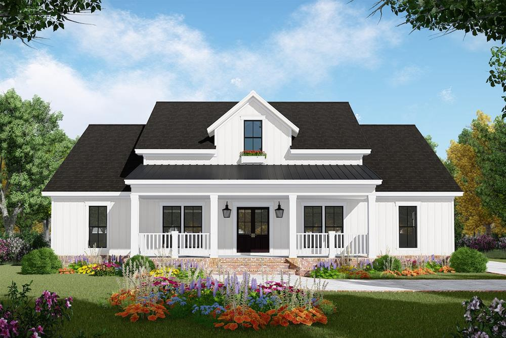 Color rendering of Farmhouse home plan (ThePlanCollection: House Plan #141-1306)