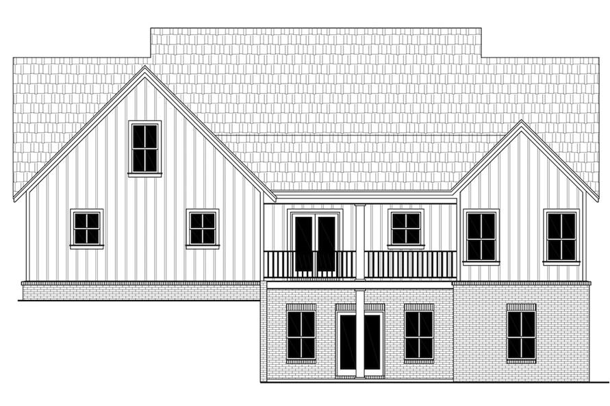 Home Plan Rear Elevation of this 3-Bedroom,2149 Sq Ft Plan -141-1308