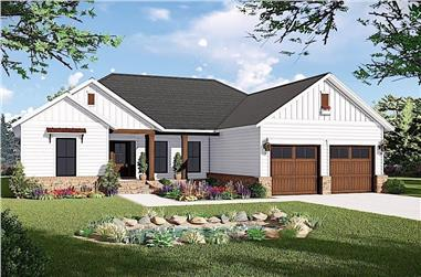 3-Bedroom, 1600 Sq Ft Ranch House Plan - 141-1316 - Front Exterior