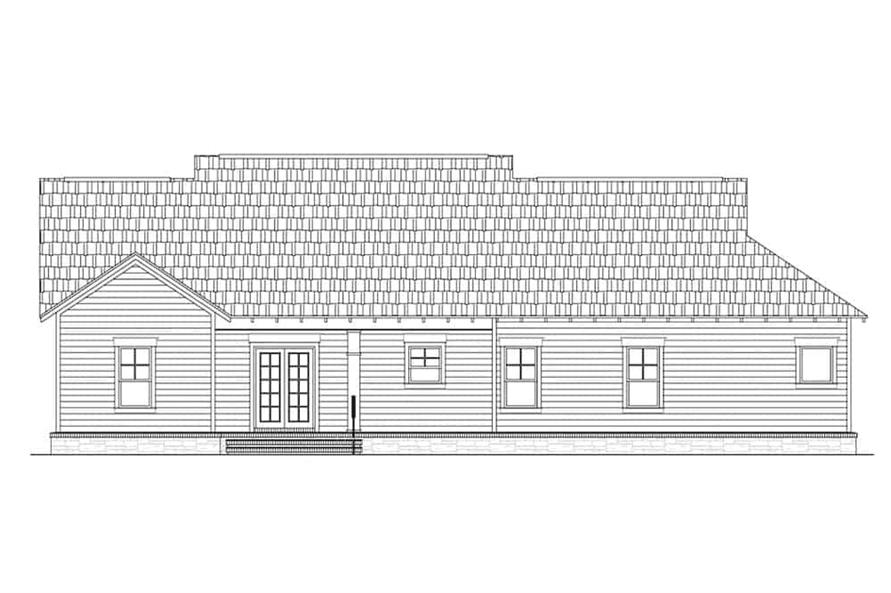 Home Plan Rear Elevation of this 3-Bedroom,1800 Sq Ft Plan -141-1318