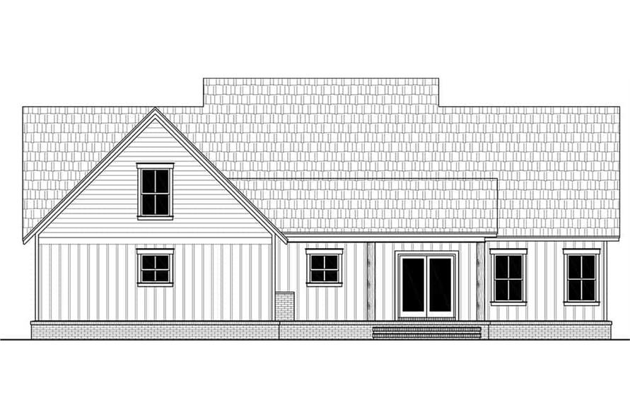 Home Plan Rear Elevation of this 3-Bedroom,2041 Sq Ft Plan -141-1321