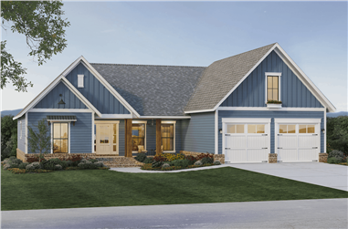 3-Bedroom, 2066 Sq Ft Ranch House Plan - 141-1322 - Front Exterior