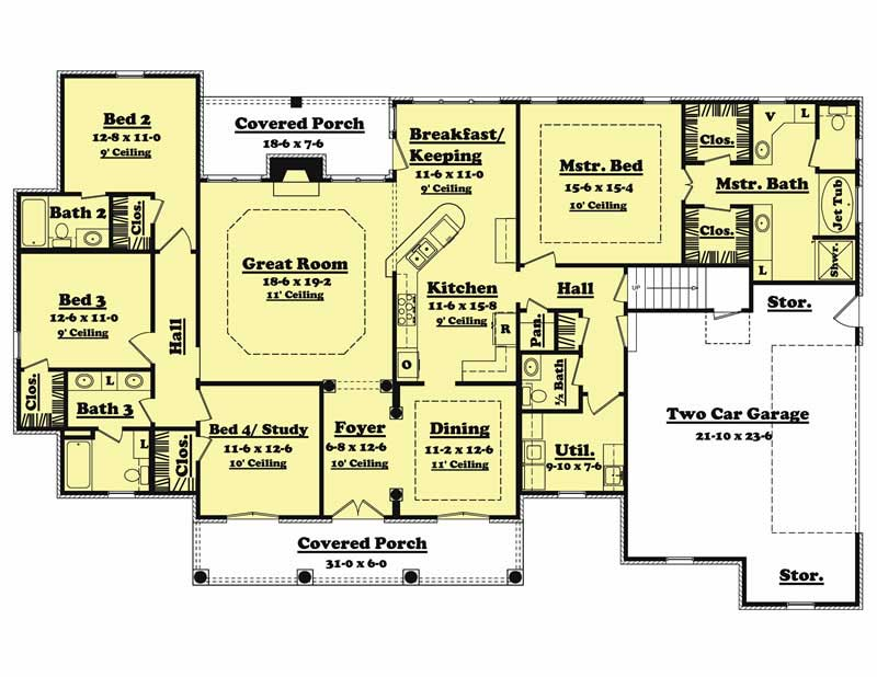 French european house plans home design cedarcrest 20620 for 2500 sq ft floor plans