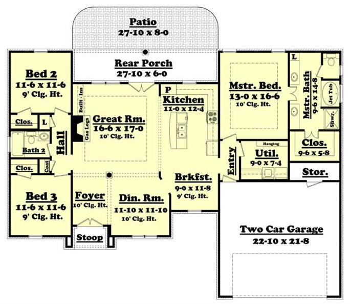 Traditional Acadian / Ranch House Plan - Home Plan #142-1002 on ranch house plans, modern 3 bedroom house plans, old house plans, 1200 sq ft. house floor plans, 1 1 2 story house plans, small one story house plans, 1700 sf house plans, small square house floor plans, 2 story country house plans, 1930s sears house plans, acadian style home open floor plans, traditional country farmhouse house plans, best single level house plans, 1500 sq ft basement plans, 2250 sq ft house plans, simple square house plans, country style house plans, new country house plans, one story open floor house plans, sears 4 square house plans,