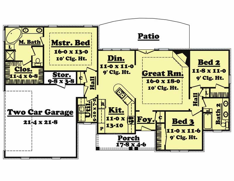 Country House 3 Bedrms 2 Baths 1600 Sq Ft Plan 142 1003