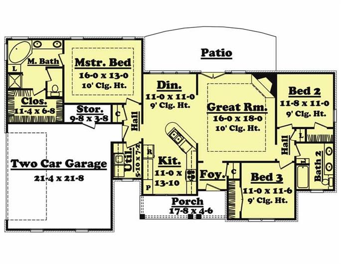 Traditional Country Ranch House Plans Home Design Jaime 20624 – 1500 Sq Ft Ranch House Plans With Garage