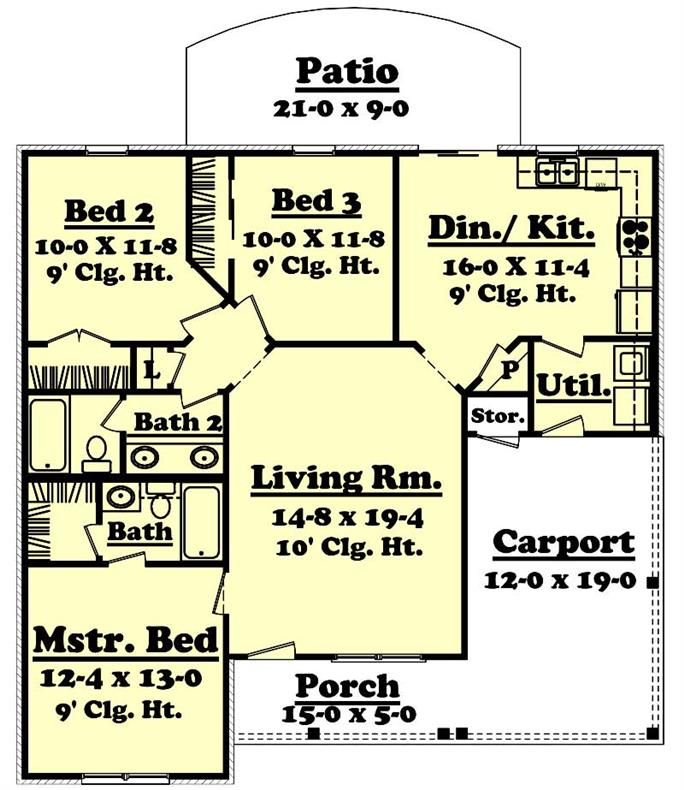 Bedroom House Plans Under Square Feet on 1200 square feet home, 1200 square feet 3 bedroom house plans, two bedroom 2 bath house plans,