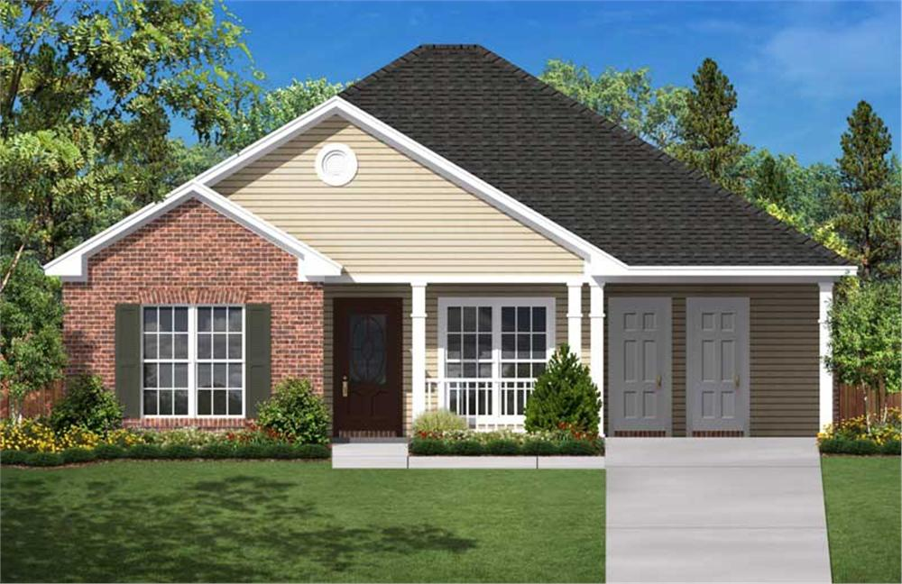 Computer rendering of Traditional Small home plan 142-1004.