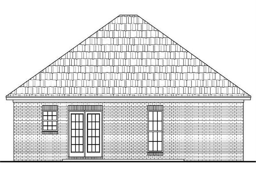 Home Plan Rear Elevation of this 3-Bedroom,1200 Sq Ft Plan -142-1004
