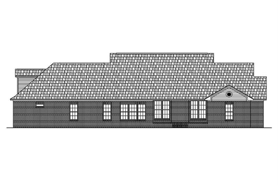 Home Plan Rear Elevation of this 4-Bedroom,2500 Sq Ft Plan -142-1005
