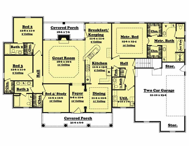 Traditional country home floor plan four bedrooms plan for 4 bedroom 2 bath 2 car garage house plans