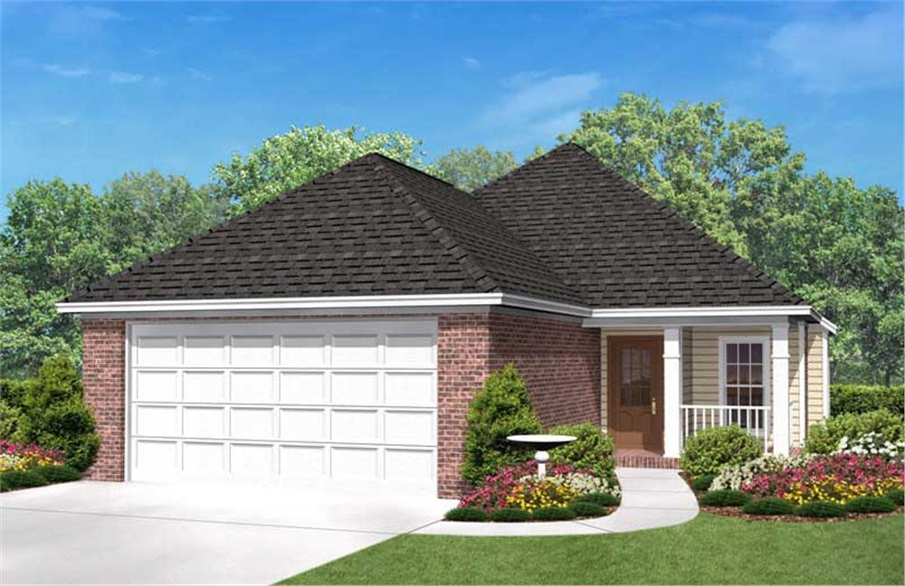 The image seen here is a front elevation of these Traditional Home Plans.