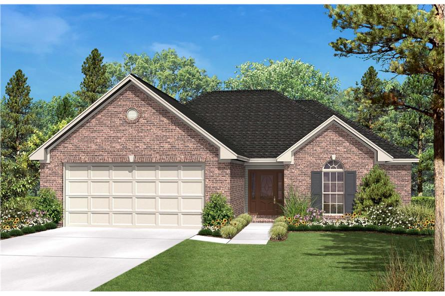 Ranch House Plans color rendering.