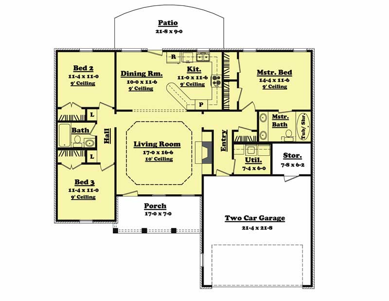 Country house plan 3 bedrms 2 baths 1400 sq ft 142 for Cost to build a 1400 sq ft house