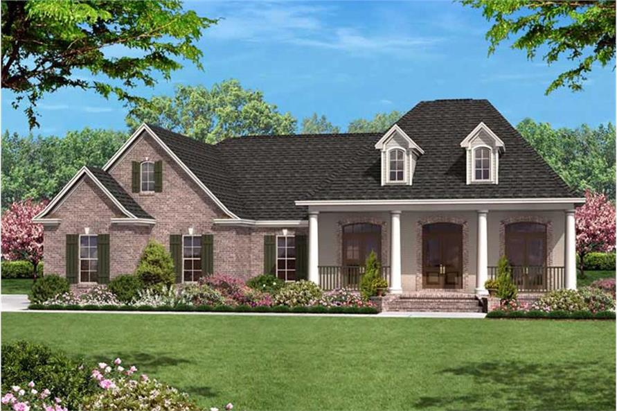 Color rendering of European home plan (ThePlanCollection: House Plan #142-1009)