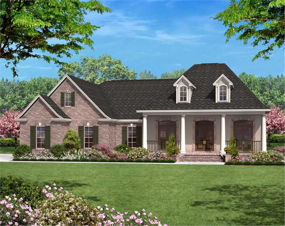 Front elevation of European home (ThePlanCollection: House Plan #142-1009)