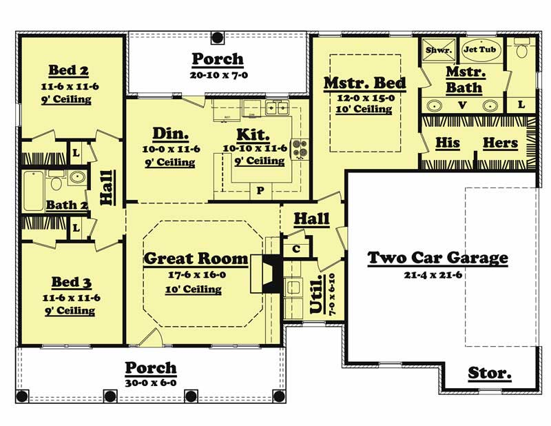 3 bedrm 1500 sq ft country house plan 142 1010 for 1500 sq ft country house plans