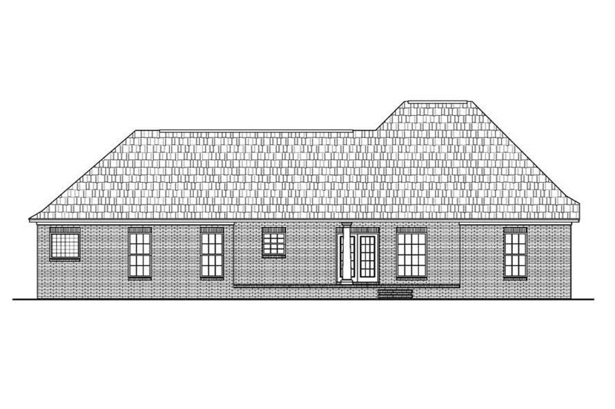Home Plan Rear Elevation of this 3-Bedroom,1600 Sq Ft Plan -142-1011