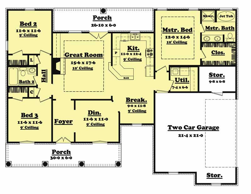 3 bedrm 1600 sq ft european house plan 142 1011 for 1600 sq ft house floor plans