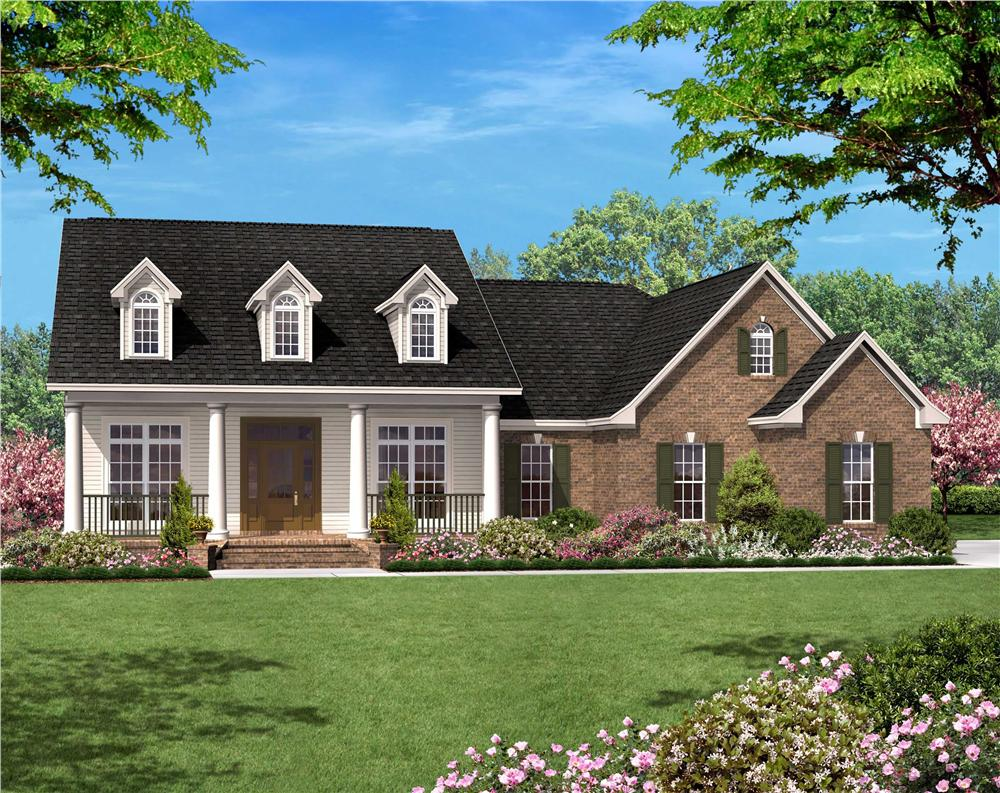 Front elevation of Country Ranch home (ThePlanCollection: House Plan #142-1013)