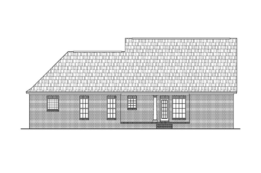 Home Plan Rear Elevation of this 3-Bedroom,1500 Sq Ft Plan -142-1013